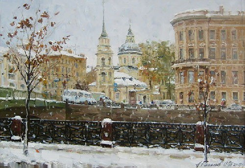 Painting Azat Galimov.Fontanka. Church of Simeon and Anna. Winter