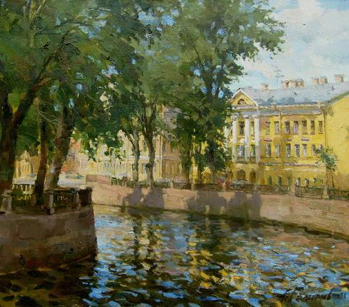 Painting Azat Galimov.Canal Griboedova on a sunny day