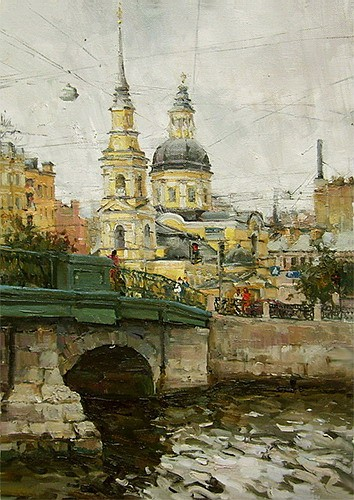 Paintings Azat Galimov. View of the Church of Simeon and Anna