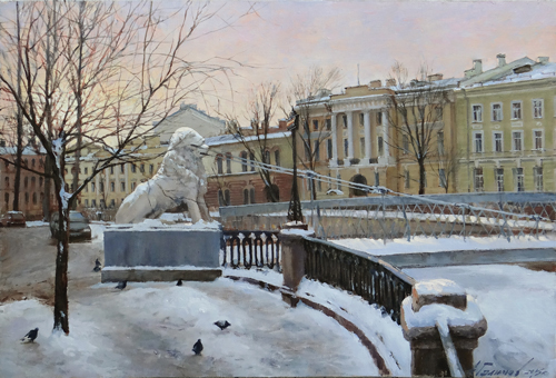 Paintings Azat Galimov. Guardians of the channel Griboyedov. Lion Bridge