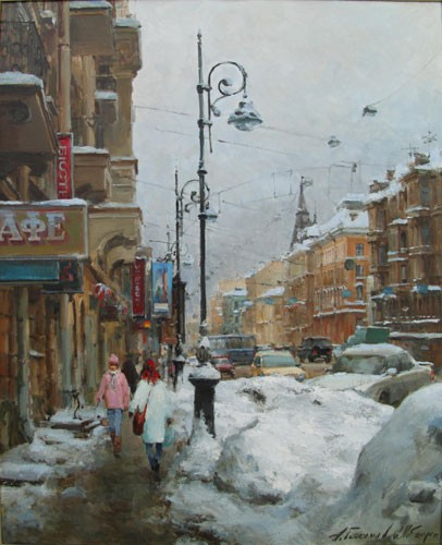 Paintings Azat Galimov. Liteyny Avenue. Winter 2010