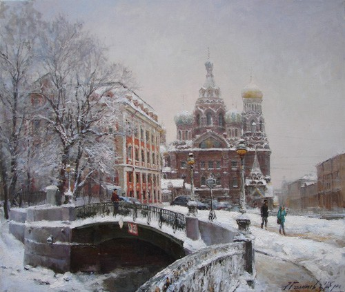 Painting Azat Galimov.Fog over the Temple. Winter 2010