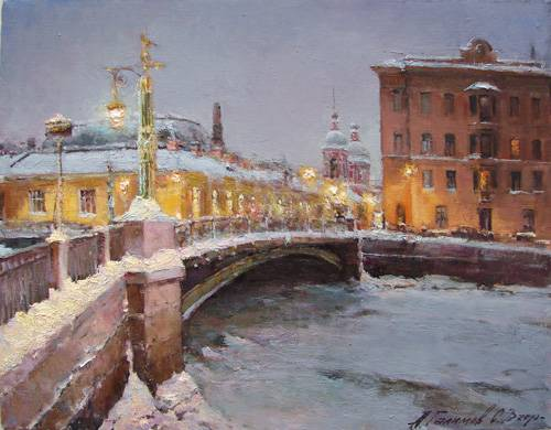 Paintings Azat Galimov.Panteleymonovsky bridge. Evening. Winter 2010