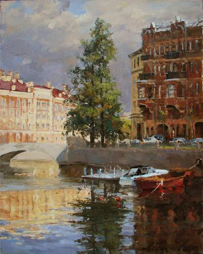 Paintings Azat Galimov.Griboyedov Canal. Reflection