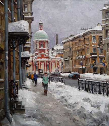 Painting by Azat Galimov.Snow on Pestel street. St.Peterburg