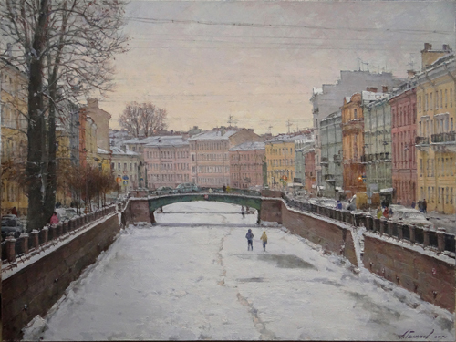 Paintings Azat Galimov. Evening light. The Griboyedov Canal.