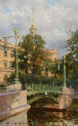 Paintings Azat Galimov.Garden Bridge on the River Moyka